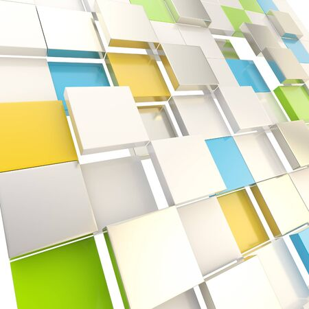 Cube abstract copyspace background made of orange, blue, green glossy shiny plates Stock Photo - 15040712
