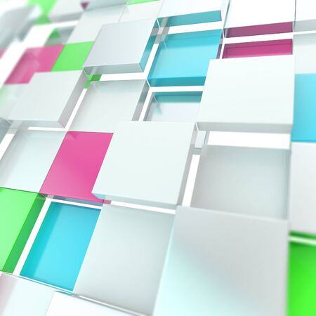Futuristic copyspace background made of colorful chaotic cubic plates Stock Photo - 15040611