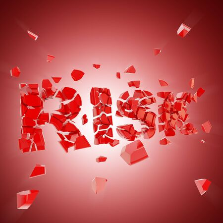 crashed: Broken risk, word crashed into red glossy pieces