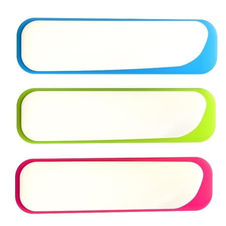 白で隔離される 3 つのカラフルな光沢のある水平方向のバナー