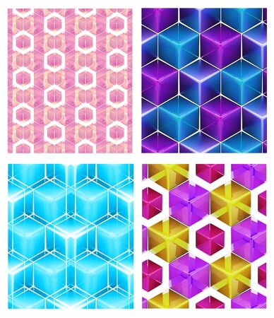 Seamless abstract colorful background made of cubes and hexagons set of four photo