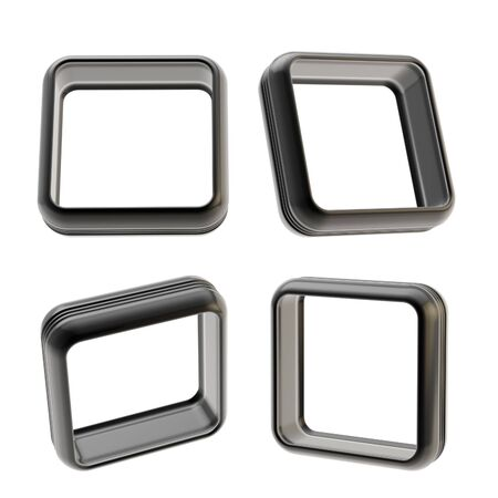 boarders: Abstract application frame copyspace square boarders made of black glossy plastic, set of four isolated on white