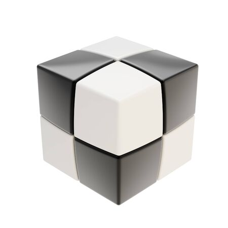 Abstract black and white cube composition isolated on white photo
