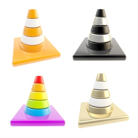 foreshortening: Road cone in four different foreshortening and coloration set of four isolated on white