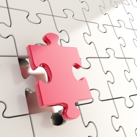 outstanding: Puzzle jigsaw shiny metal background with one red piece stand out