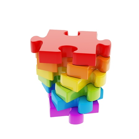 business symbols and metaphors: Stack of rainbow colored puzzle jigsaw glossy pieces isolated on white