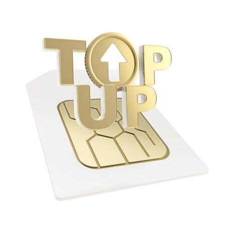 sim: Top-up glossy emblem golden icon over sim card chip microcircuit isolated on white