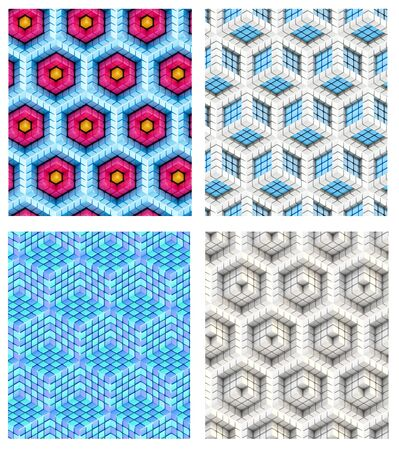 Seamless hexagon cube background texture abstract backdrop, set of four Stock Photo - 15040765