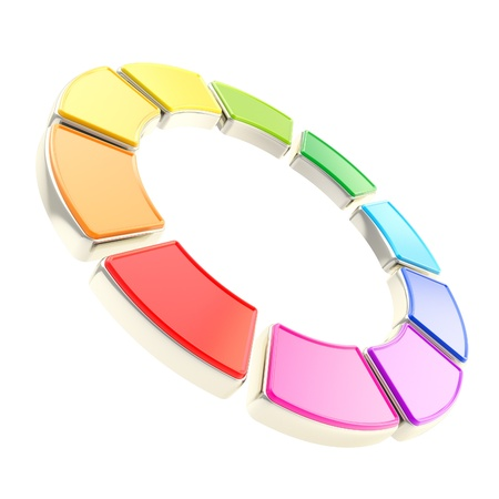 edging: Round circle frame isolated on white background made of ten glossy rainbow colored segments with golden edging Stock Photo