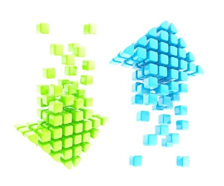 緑と青の白い背景で隔離の光沢のあるアイコン エンブレム ↓