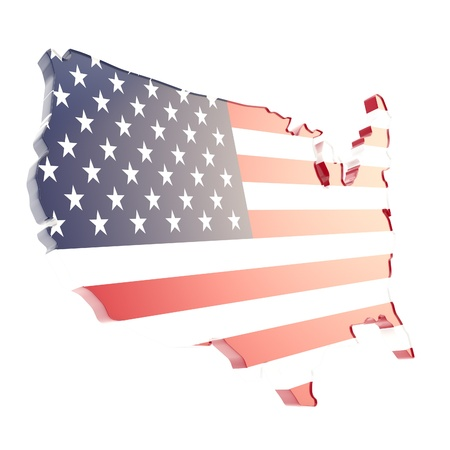 dimensional: USA country shaped copyspace dimensional glossy plate with the texture of flag isolated on white background