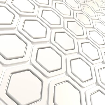Copyspace hexagon segments made of white glossy plastic as abstract background Stock Photo - 15067926