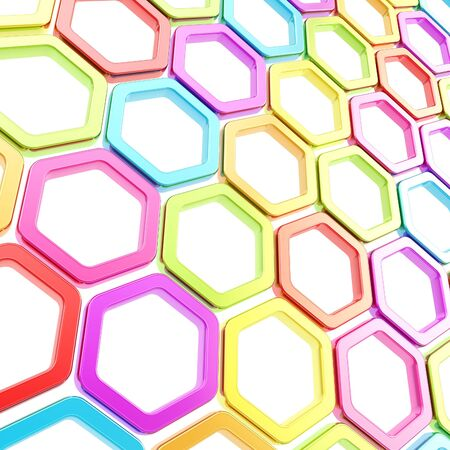 Copyspace fondo abstracto hecho de colores brillantes elementos hexagonales en blanco photo