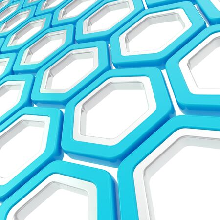 Abstract copyspace background made glossy blue and chrome metal hexagon elements on white photo