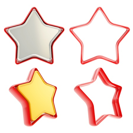 Template copyspace icon emblems for star rate voting rating isolated on white background Stock Photo - 15067910