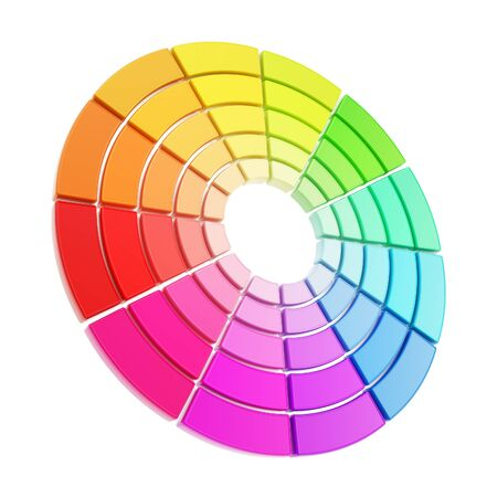 color guide: Color range spectrum circle round palette made of dimensional glossy plastic pieces isolated on white background
