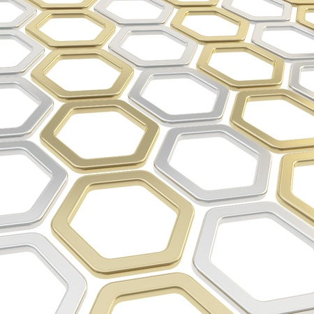 Abstract copyspace background made of silver chrome and golden hexagon elements on white Stock Photo - 15040731