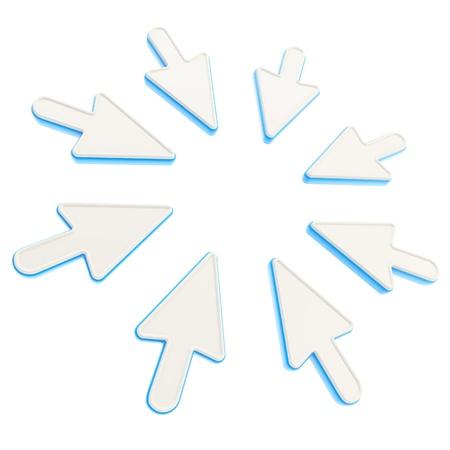 poner atencion: Preste atenci�n copyspace marco redondo de color azul punteros del cursor del rat�n aislados en blanco