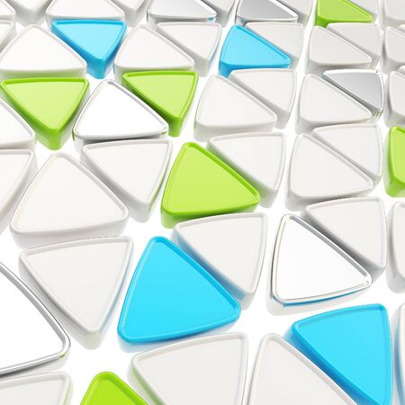 Abstract copyspace geometrical background made of glossy white, blue, green and chrome metal triangles photo