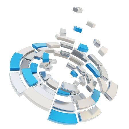 クロム金属および青い部分円組成最適化アイコン エンブレム抽象的な背景として白で隔離されるに分割ラウンド