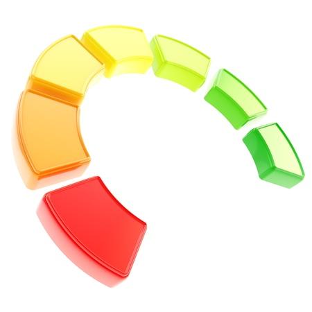 indicatore: Sette livelli di effieciency energia come indicatore dimensionale curva segmentata isolato su sfondo bianco Archivio Fotografico