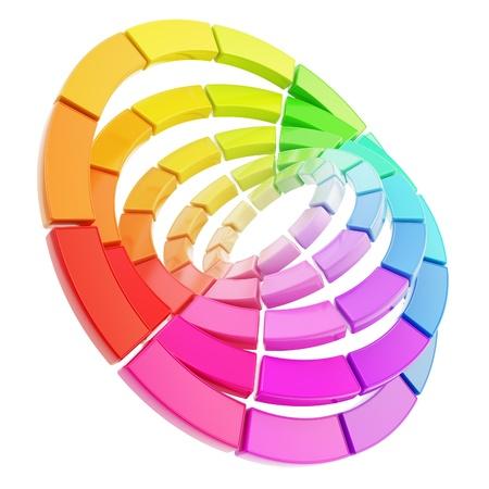 impresora: Gama de colores del espectro círculo redondo paleta hecha de piezas tridimensionales brillantes de plástico aisladas sobre fondo blanco Foto de archivo