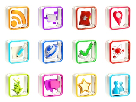 Mobile app icon application emblems isolated on white background, set of twelve photo