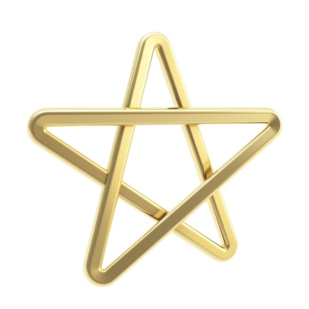 favorite colour: Golden pentagonal five-pointed glossy golden metal star symbol isolated on white background Stock Photo