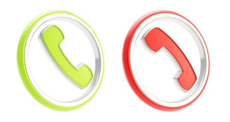hang up: Answer call and hang up phone round icon emblems isolated on white