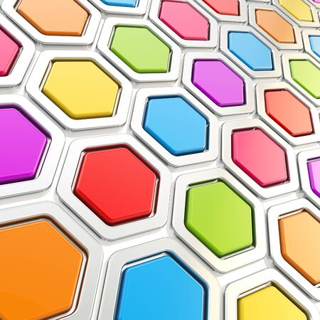Glossy hexagon segments made of chrome metal and colorful plastic elements as abstract background photo