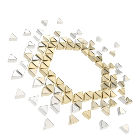 Abstract copyspace hexagon frame backdrop made of tiny glossy chrome and golden metal triangles isolated on white background photo
