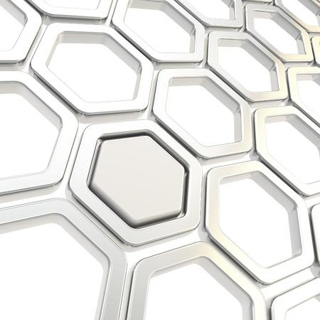 그리드: copyspace에 추상적 인 배경으로 크롬 금속 elemets 만든 광택 육각 세그먼트 스톡 사진
