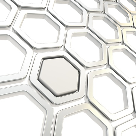 Glossy hexagon segments made of chrome metal elemets as copyspace abstract background