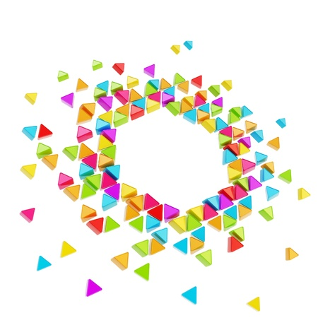 Abstract copyspace hexagon frame backdrop made of tiny glossy colorful triangles isolated on white background photo