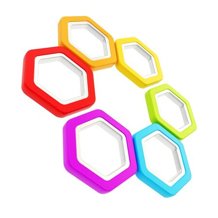 Seis composici�n pieza hecha de segmentos hexagonales de colores brillantes arco iris con bordes de metal aislado en blanco photo