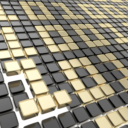 Binary technology background  golden ones and zeros made of glossy square fragment plates Stock Photo - 15090928