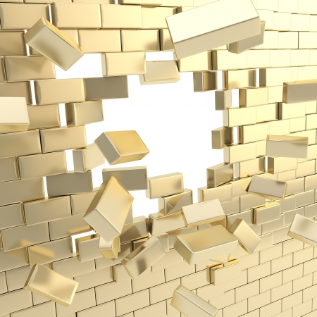 rebuild: Broken into pieces golden brick wall with a copyspace hole in center Stock Photo