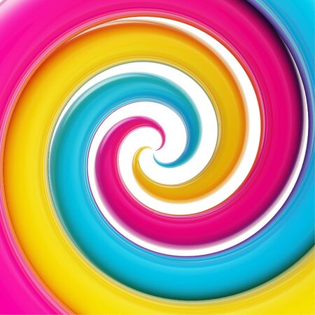 twirled: Twirled vortex as colorful abstract background made of cmyk colored glossy curve tubes on white Stock Photo