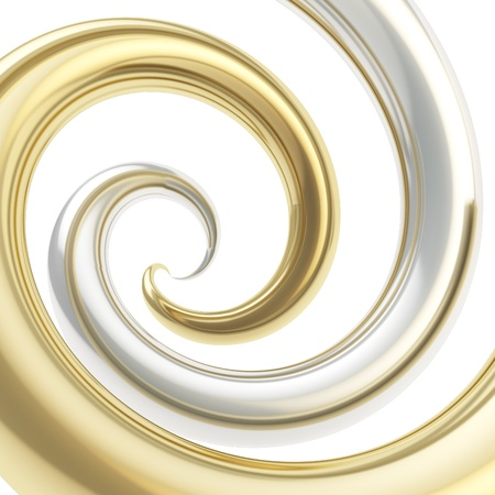Twirled vortex as colorful abstract background made of golden and chrome silver metal glossy curve tubes on white photo