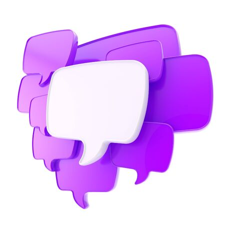 Cloud group of violet speech text bubbles composition as copyspace banner plate isolated on white photo