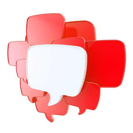 Cloud group of red speech text bubbles composition as copyspace banner plate isolated on white photo