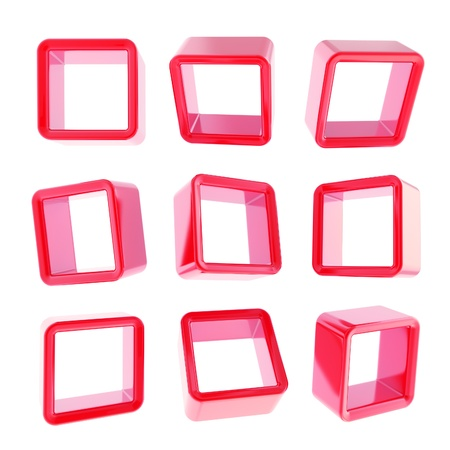 Copyspace cube square red glossy shelf boxes in nine foreshortenings isolated on white photo