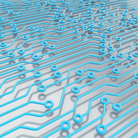 microcircuit: Microcircuit blue chip scheme over metal surface as technology and science abstract background Stock Photo