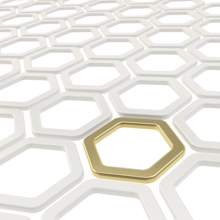 Abstract copyspace background made of white and golden hexagon elements photo