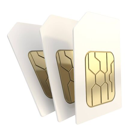 prepaid: Group of three phone SIM cards with golden circuit microchips isolated on white background