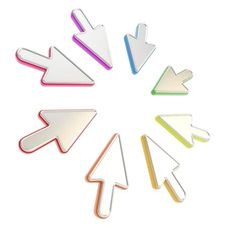 prestar atencion: Preste atención copyspace marco redondo hecho de coloridos punteros del cursor del ratón aislados en blanco