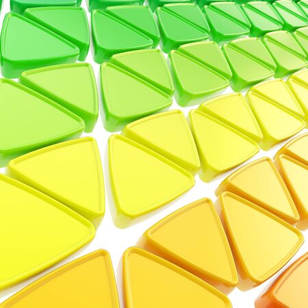 Abstract geometrical background made of glossy triangles on white photo