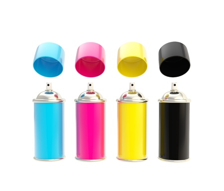 CMYK colored spray oil color cylinders with caps above isolated on white photo