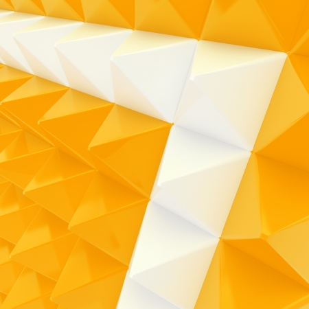 Abstract background made of white and orange glossy pyramid composition photo