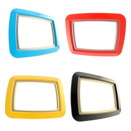 Glossy copyspace frames isolated on white, set of four